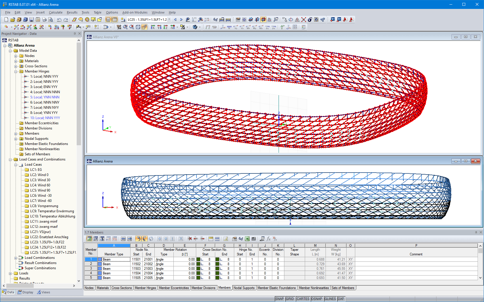 D beam structure model of Allianz Arena in RSTAB (© IPL GmbH)