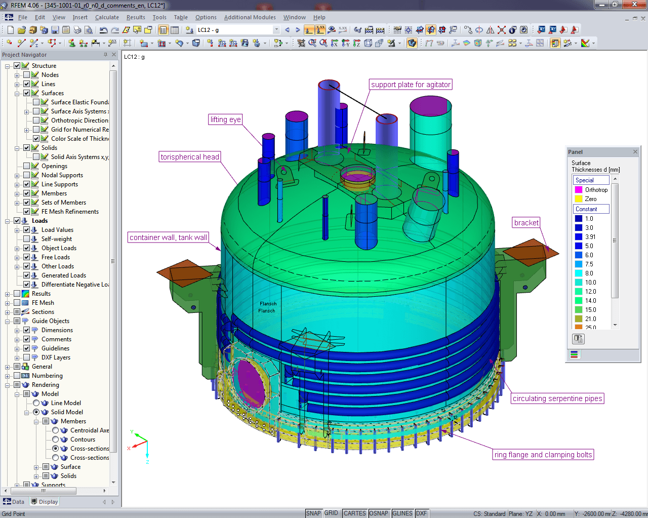Modello di analisi in RFEM (© Peter & Partner)