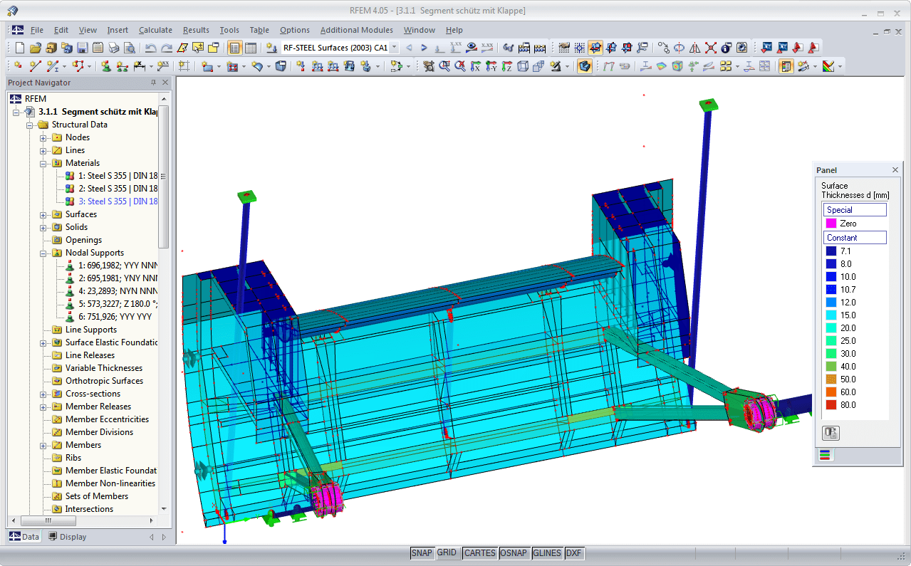 Modelo RFEM de espessuras de superfícies no módulo RF-STEEL Surfaces (© Ingenieurbüro Jürgen Ehlenz)