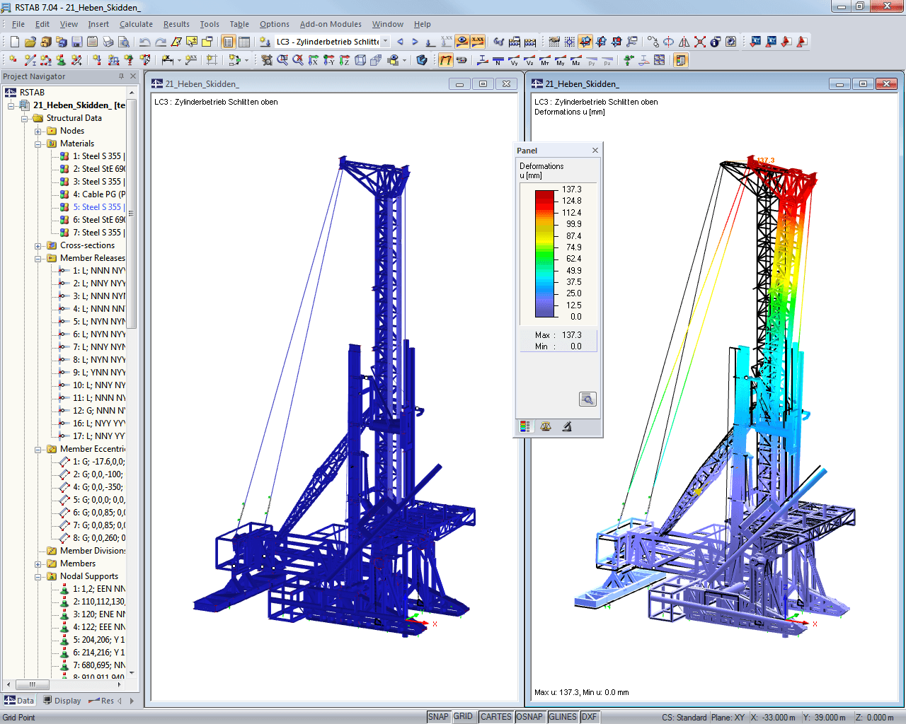 Non-deformed and deformed model of deep drilling rig in RSTAB (© IB H.-U. Möller)