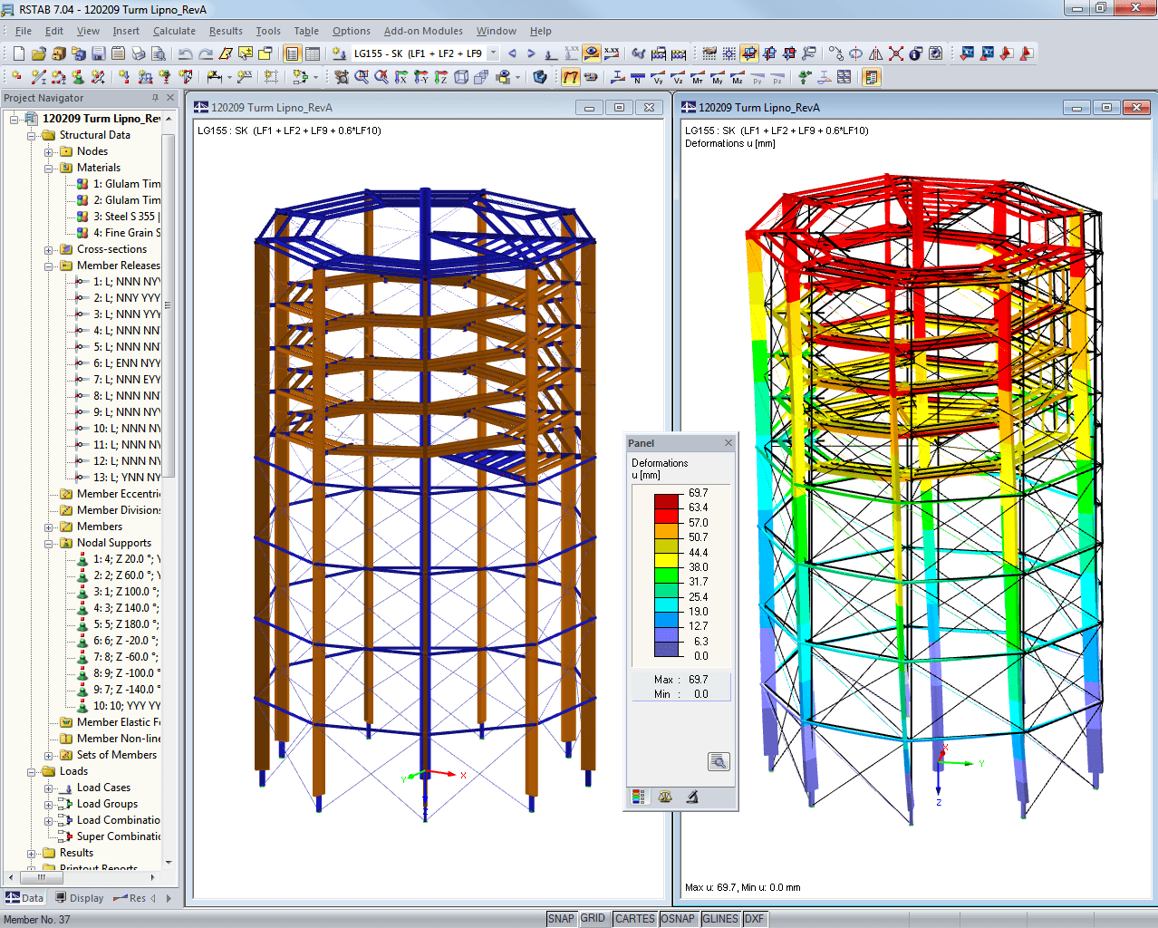 Model and deformation of tower in RSTAB (© WIEHAG)