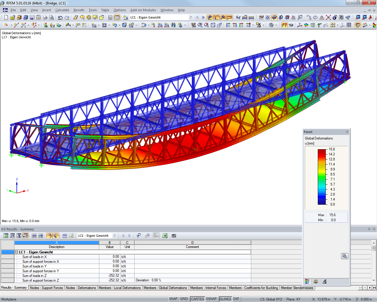 Representation of deformation of bridge in RFEM (© Janson Bridging)