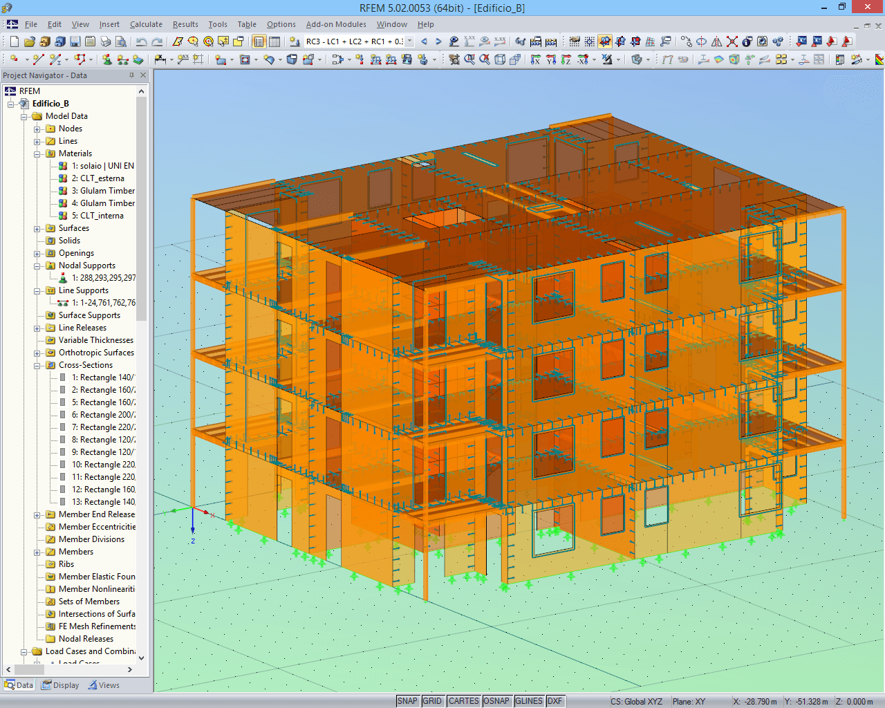 Model of housing complex B displayed in RFEM (© Rubner)