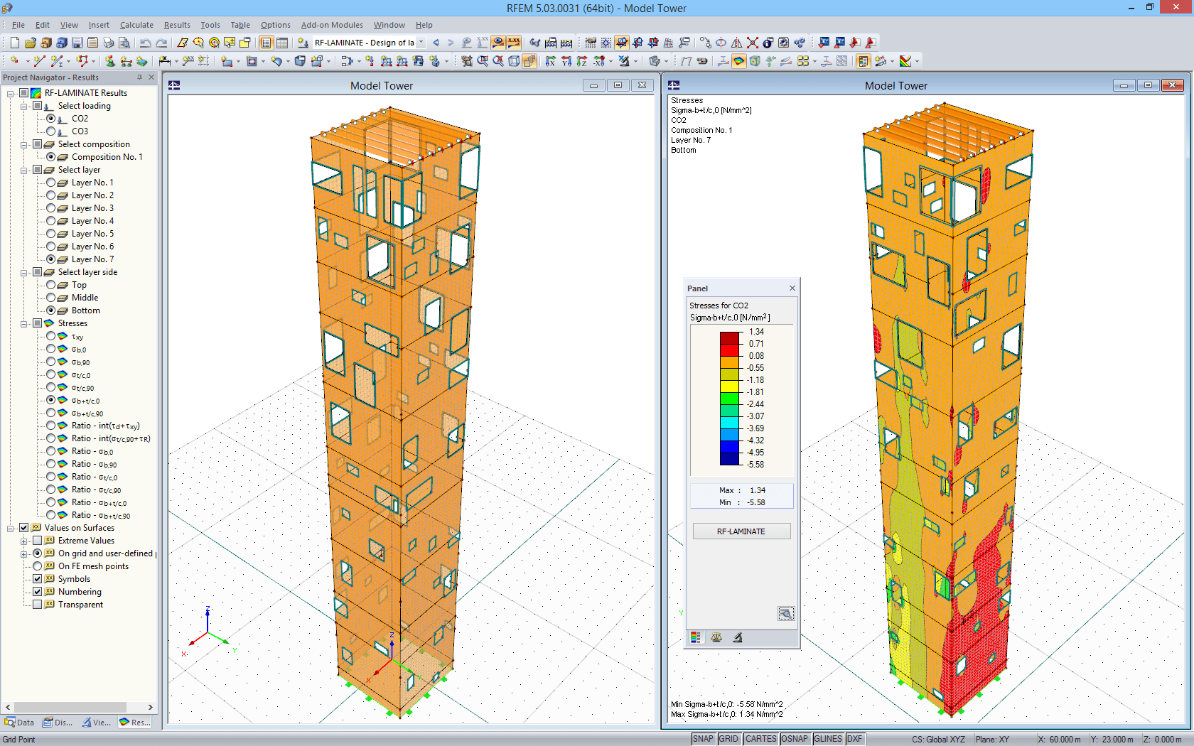 Model of outer tower and design results of RF-LAMINATE in RFEM (© Wirth)