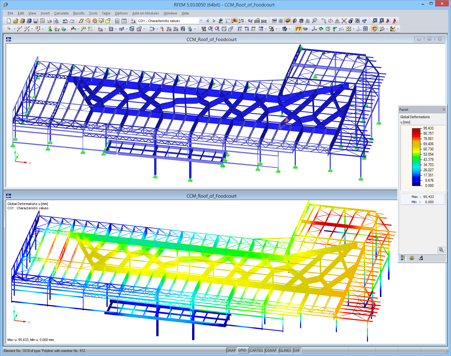 Model of food court roof in RFEM with deformation results (© Helika a.s.)