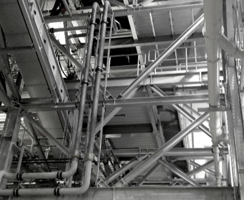 Steel structure during construction