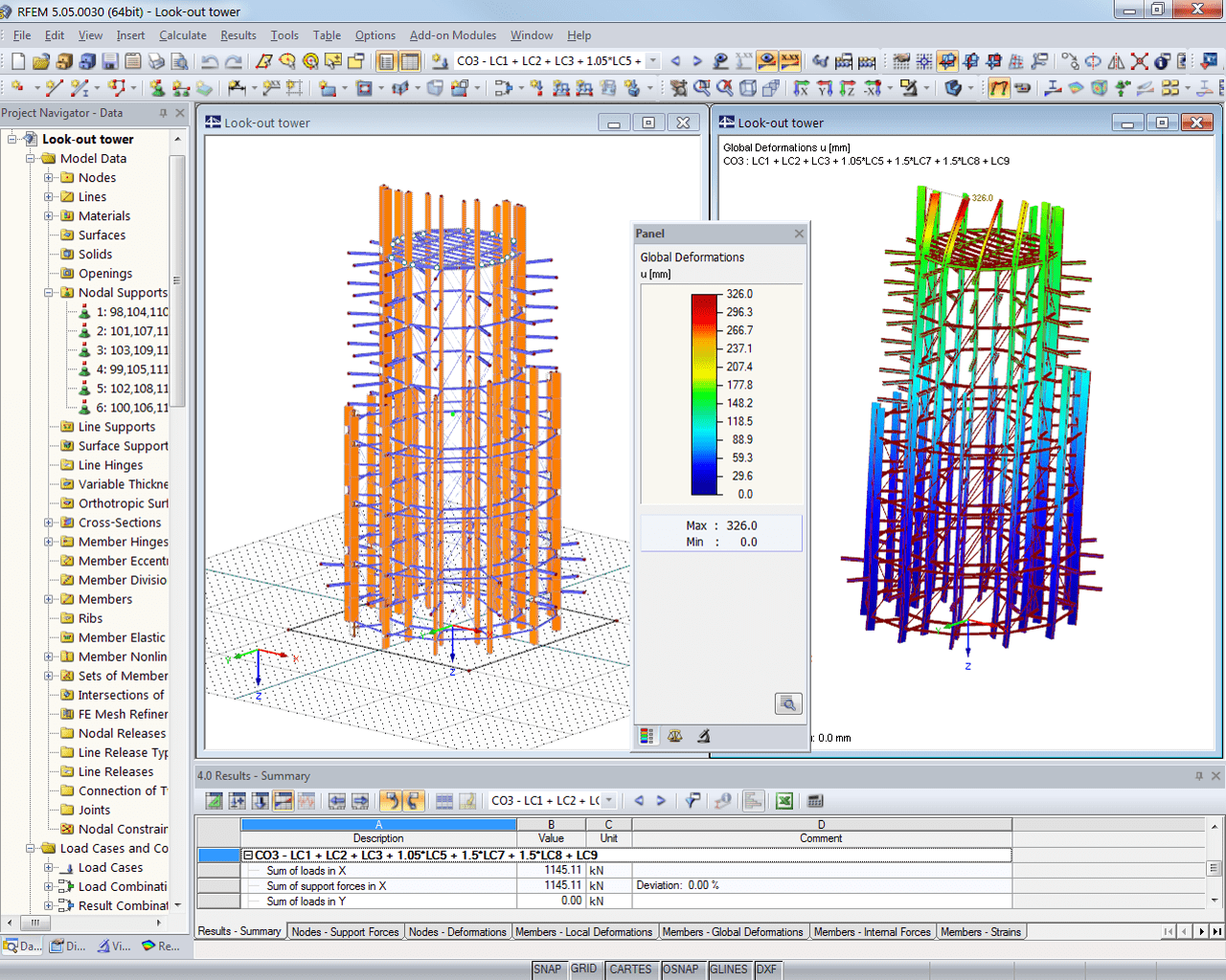 D model of look-out tower and deformation in RFEM (© Harrer Ingenieure)