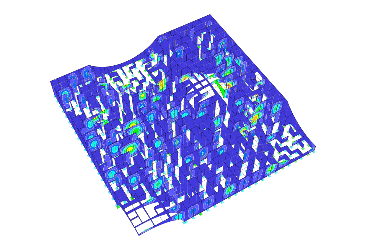 Deformation of the maze in RFEM (© Bollinger+Grohmann)