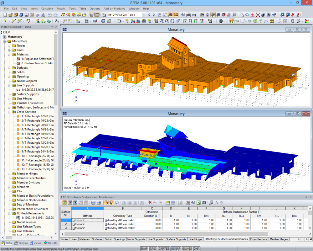 Timber supporting structure in RFEM: 3D model (top) and mode shape calculated in RF-DYNAM (bottom) (© Dr. Ing. Berger, Dr. Ing. Gadner Meran)