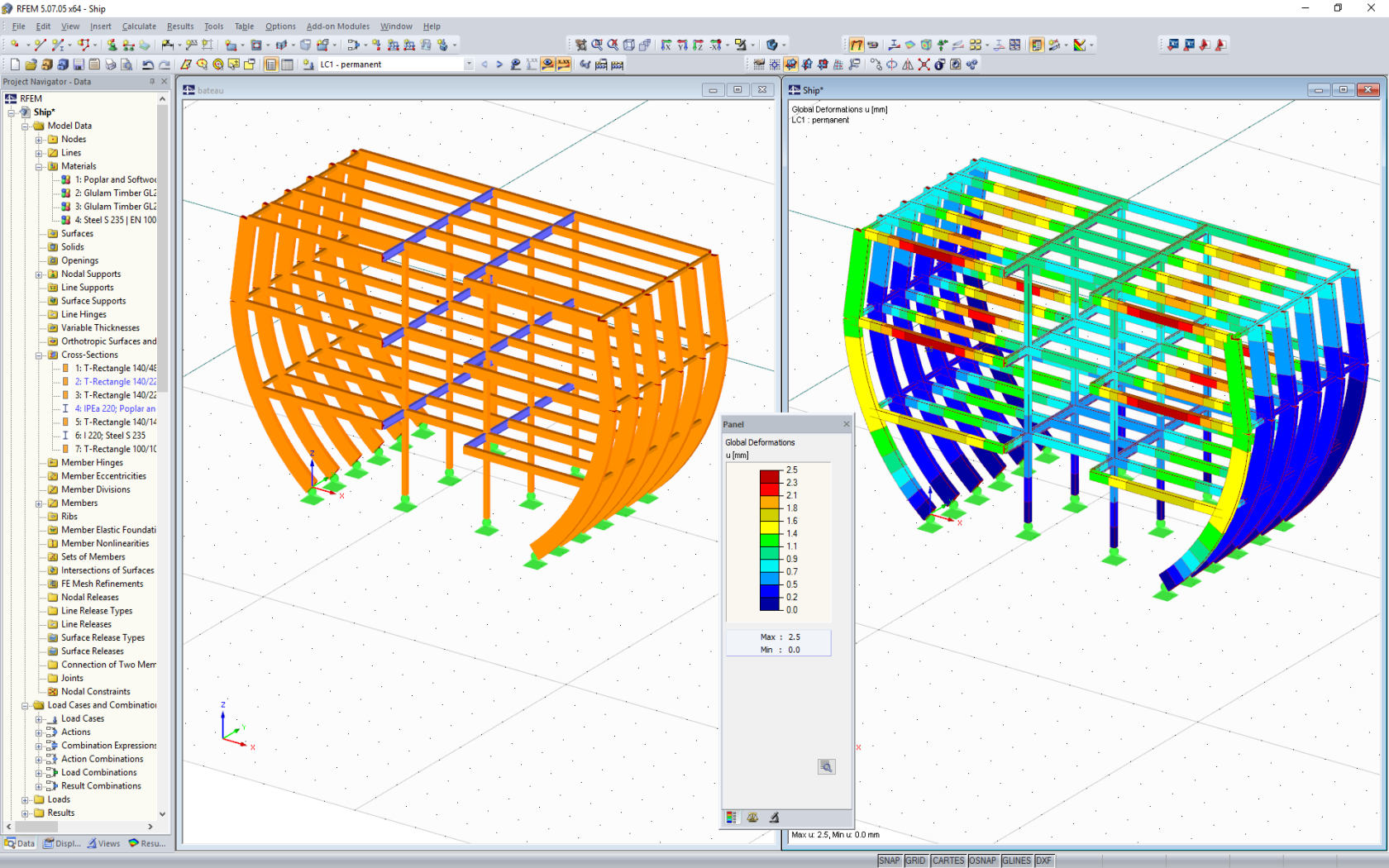 Modeling of stage setting of frigate in RFEM (© MayA)