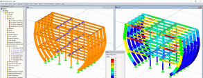 Modeling of the stage setting of frigate in RFEM (© MayA)