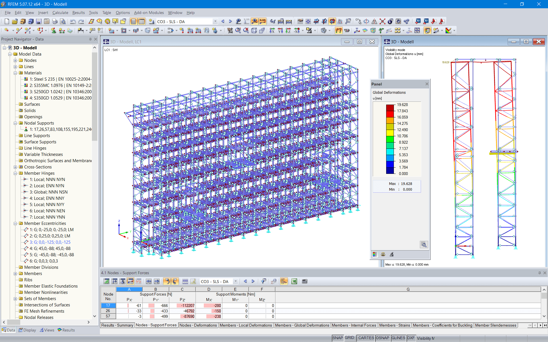 3D model of racking system in RFEM (© NEDCON B.V.)