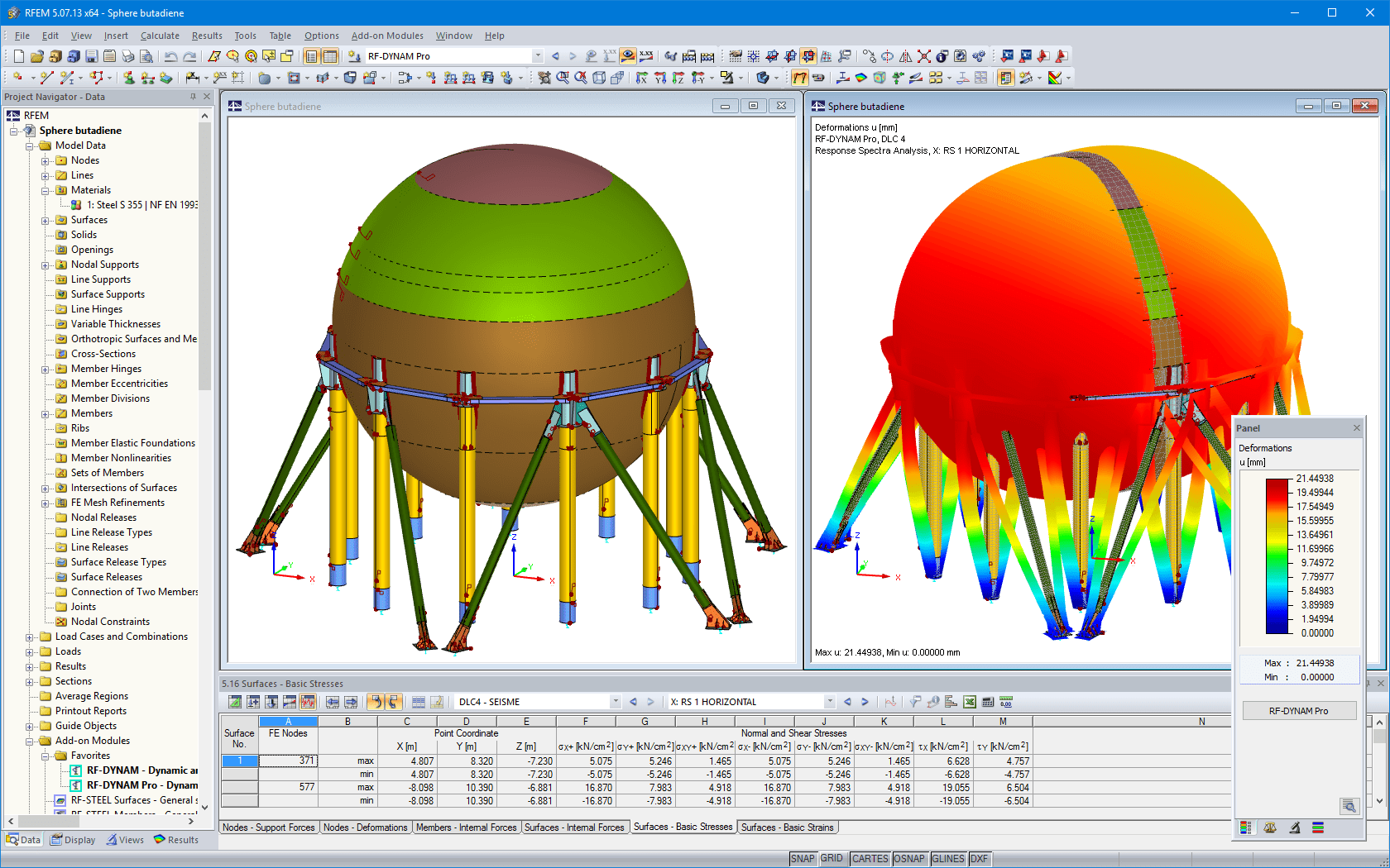 D model of the butadiene storage sphere in RFEM (left) and the mode shape from RF-DYNAM Pro (right)
