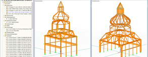 3D models of the two highest domes in RSTAB (© Moses Structural Engineers Inc.)