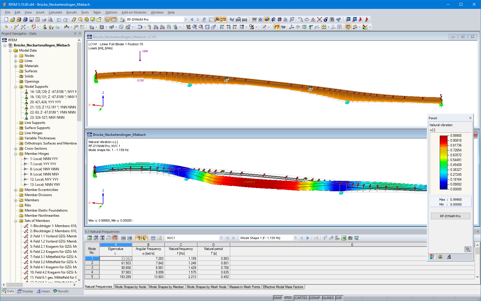 Model and the first mode shape of the pedestrian and cycling bridge in RFEM (© IB Miebach)