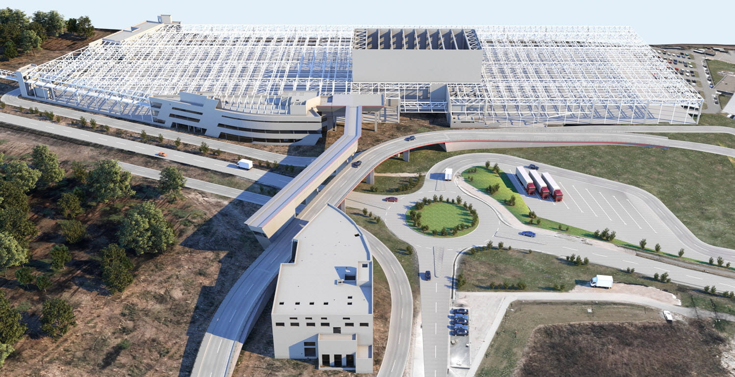 Visualized Planning Model of the New Plant with Pedestrian and Media Bridge (Middle) and New Factory Building (Top) (© Engineering Office Grassl GmbH)