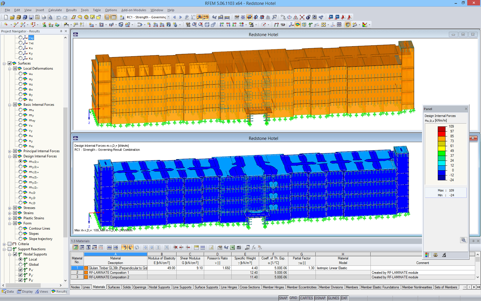 3D model (top) and display of internal forces (bottom) of wooden supporting structure in RFEM (© Nordic Structures & Schaefer)