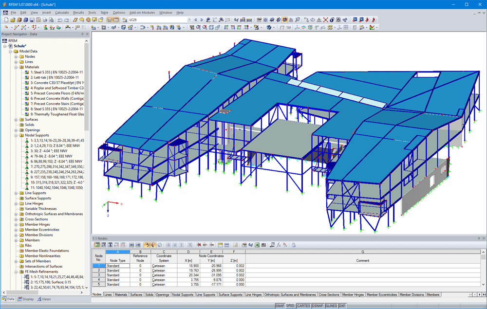 Modelo 3D de escola no RFEM (© DBC AS)