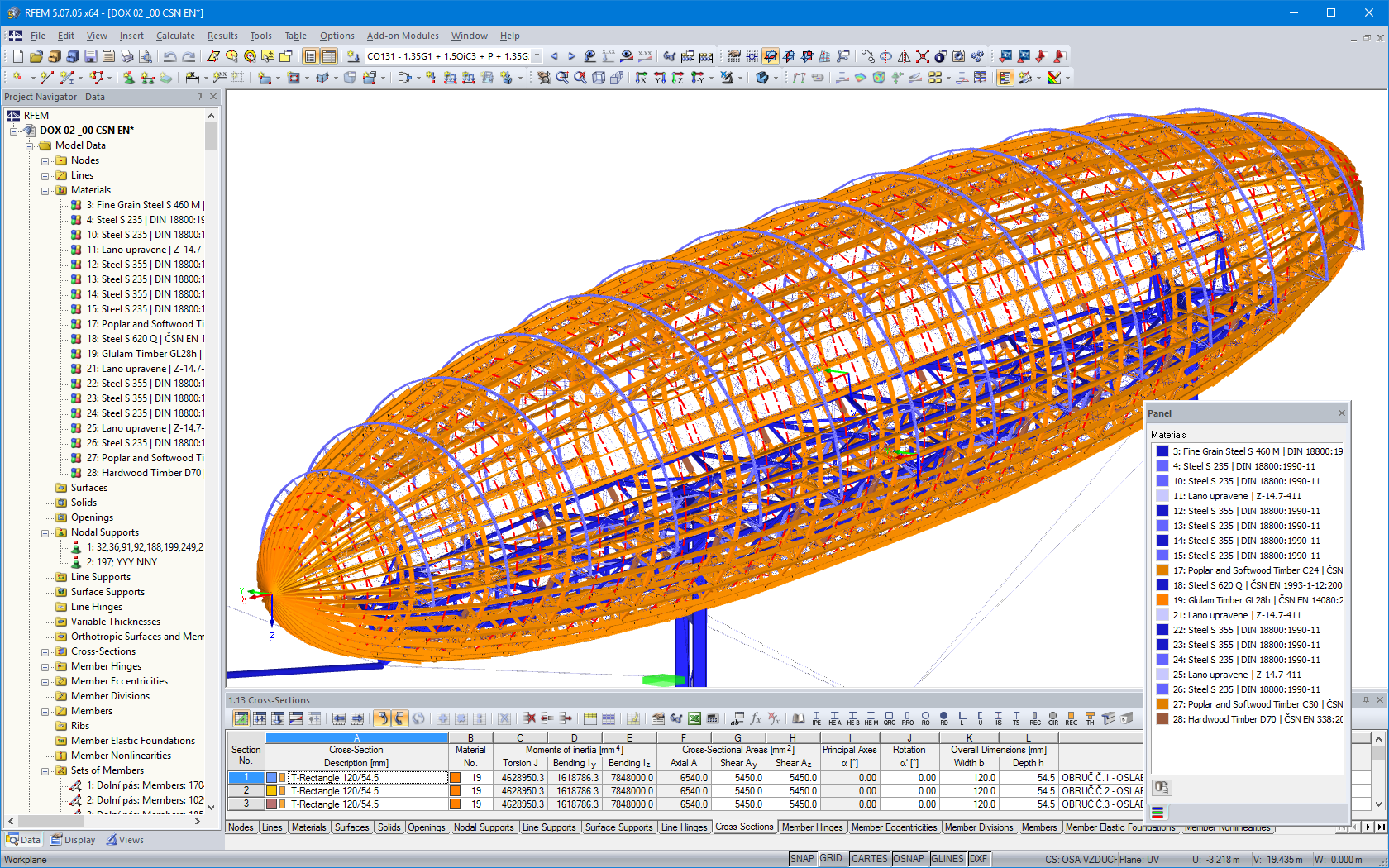 RFEM model of airship with timber and steel elements (© Ing. Šrůtek)