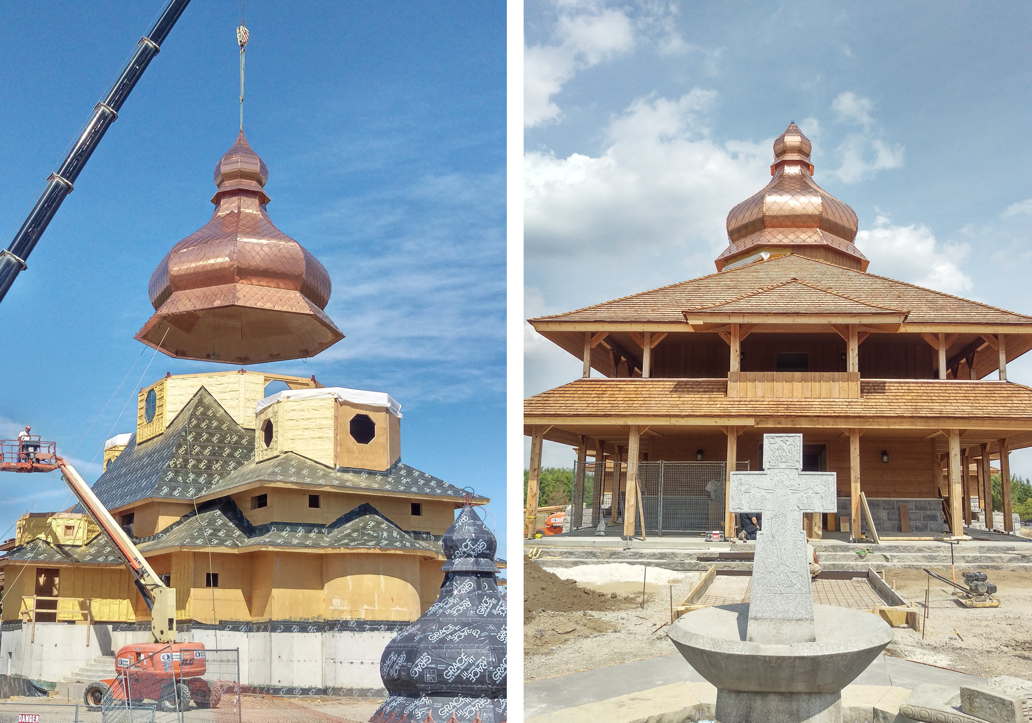 Lift and positioning of a dome (left), entrance of the church (right, images: © Moses Structural Engineers Inc.)