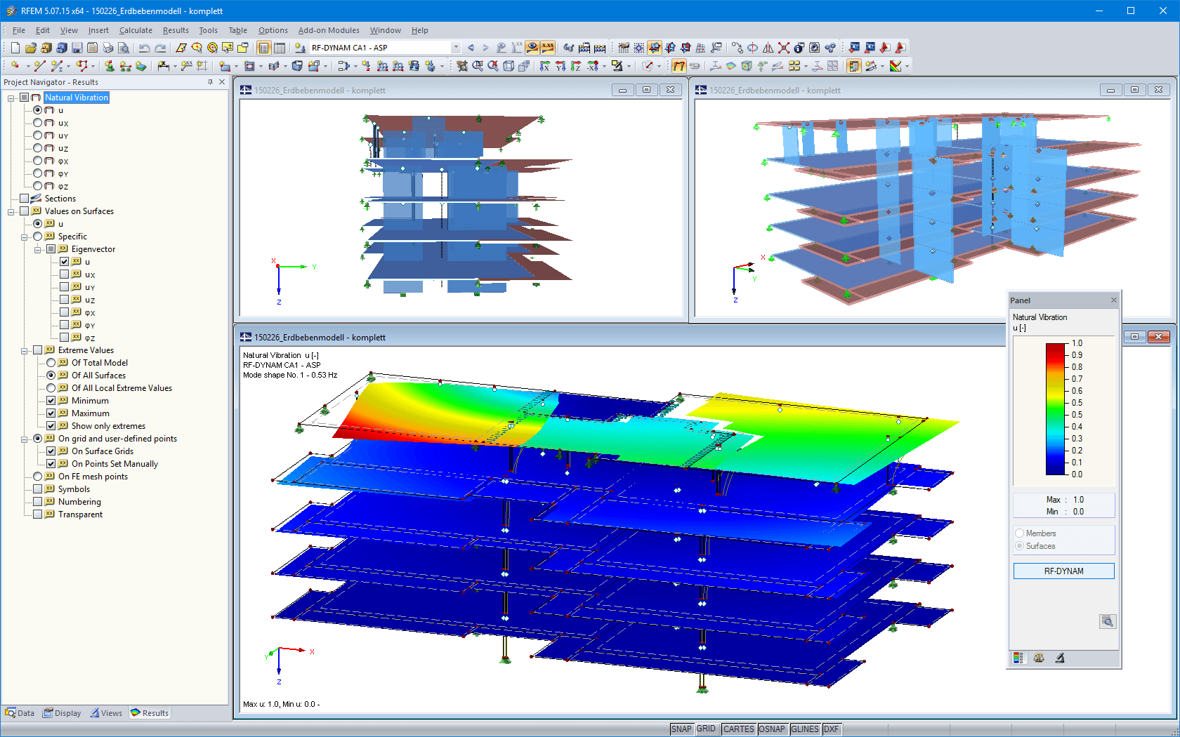 3D models and natural vibration mode shape of the building in RFEM (© Pirmin Jung)