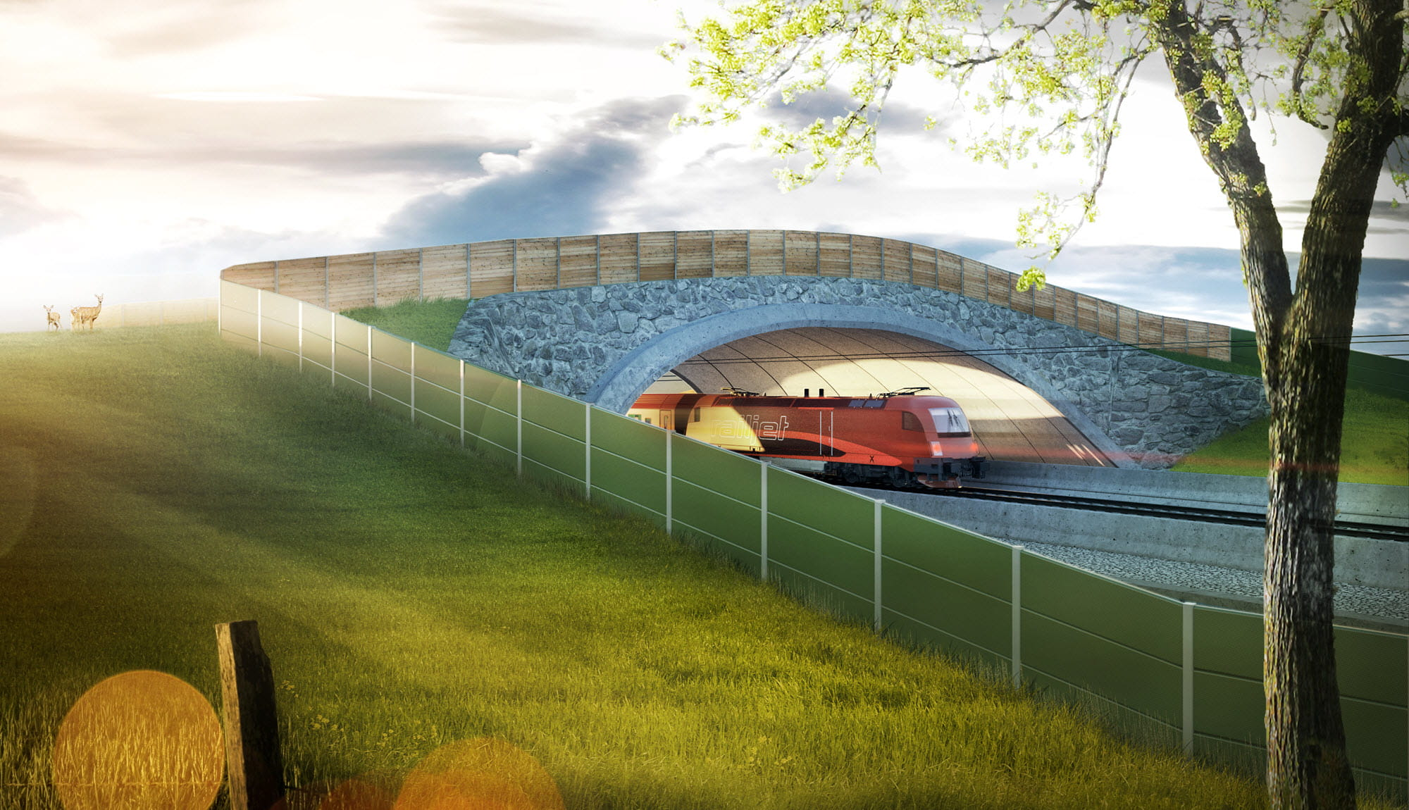 Visualization of wildlife crossing AM2 (© Michael Sohm / TU Wien)