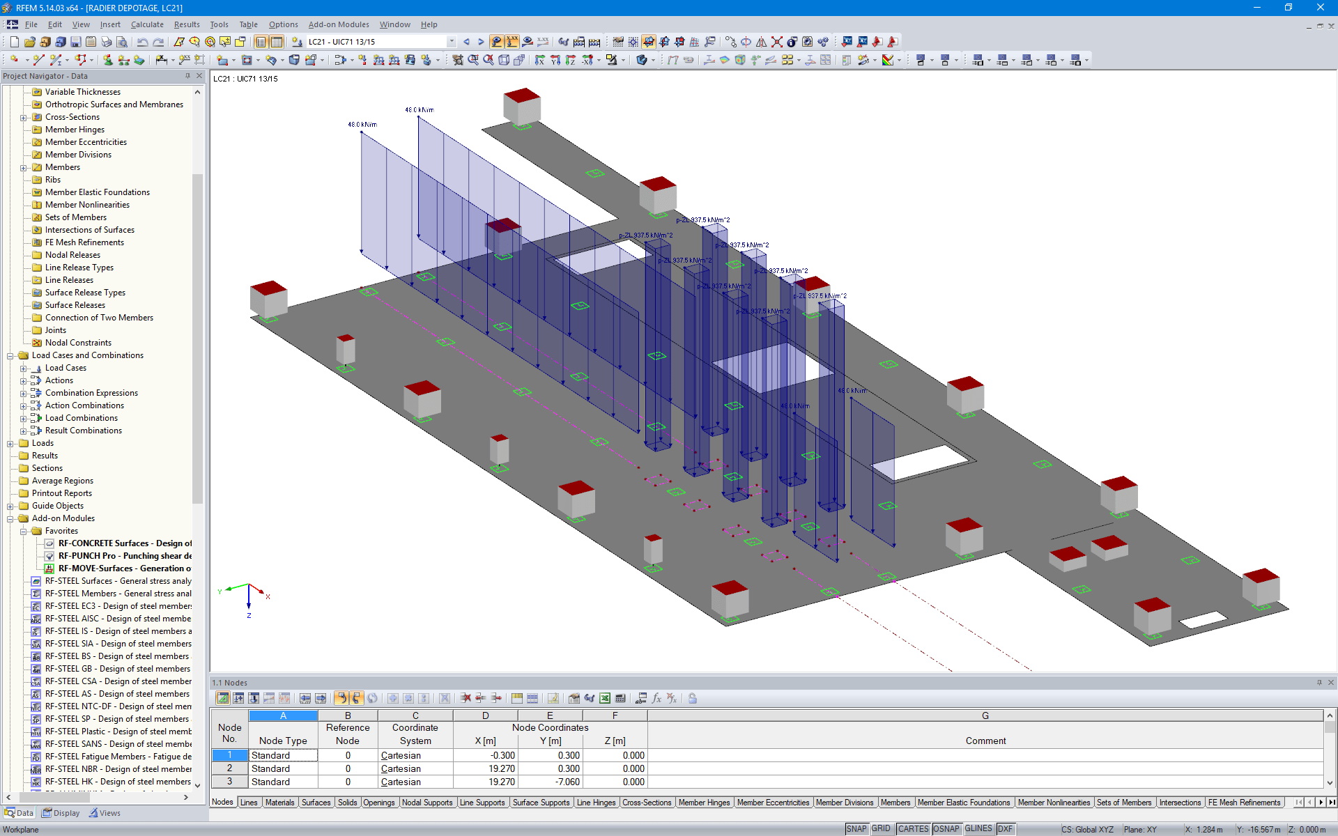 Moving Loads on Base Slab in RFEM