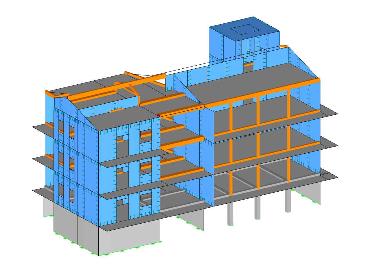 Isometric view of the wood-concrete building
