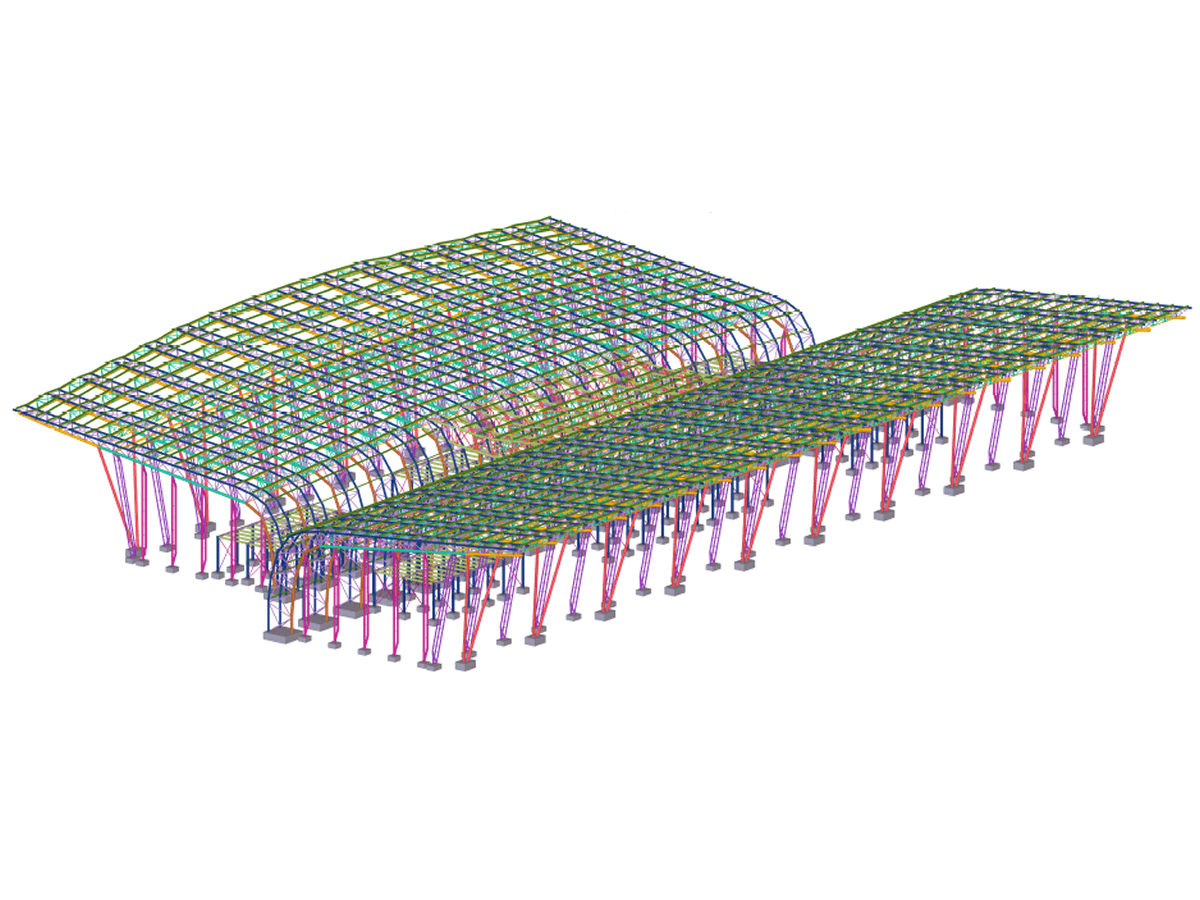 Analysis of the complex stress-strain state of members of an airport terminal using 3D BIM models