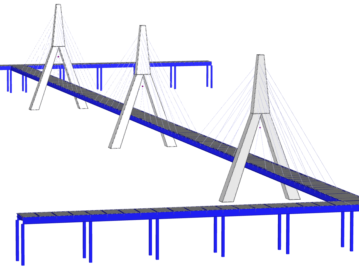 Cycle-pedestrian cable-stayed bridge