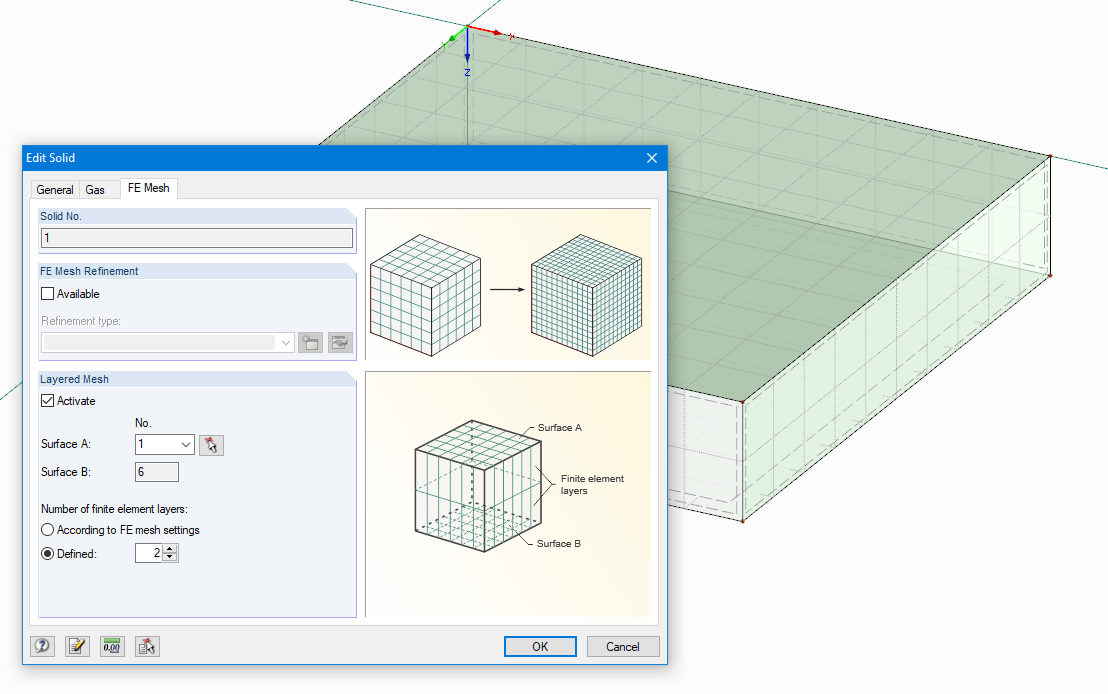 Defining 2 FE Mesh Layers for One Gas Solid