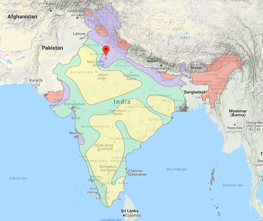 Seismic Zone Map of India