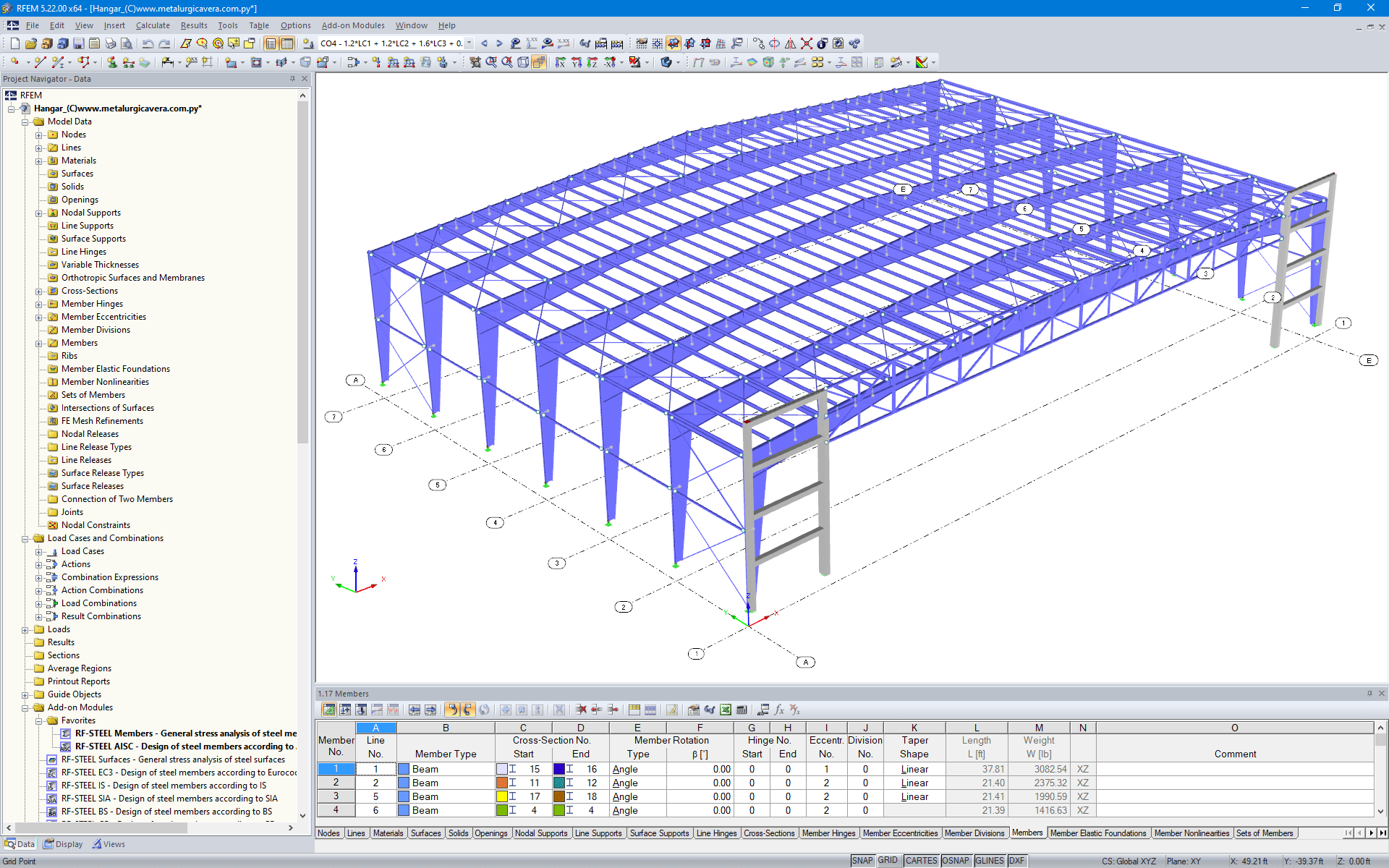 Model of Hangar in RFEM (© Metalúrgica Vera S.R.L)