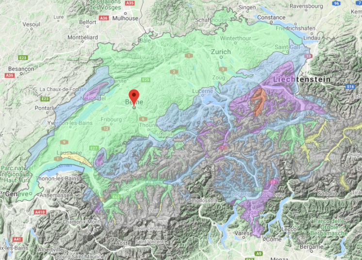 Carte des zones de charge de neige en Suisse