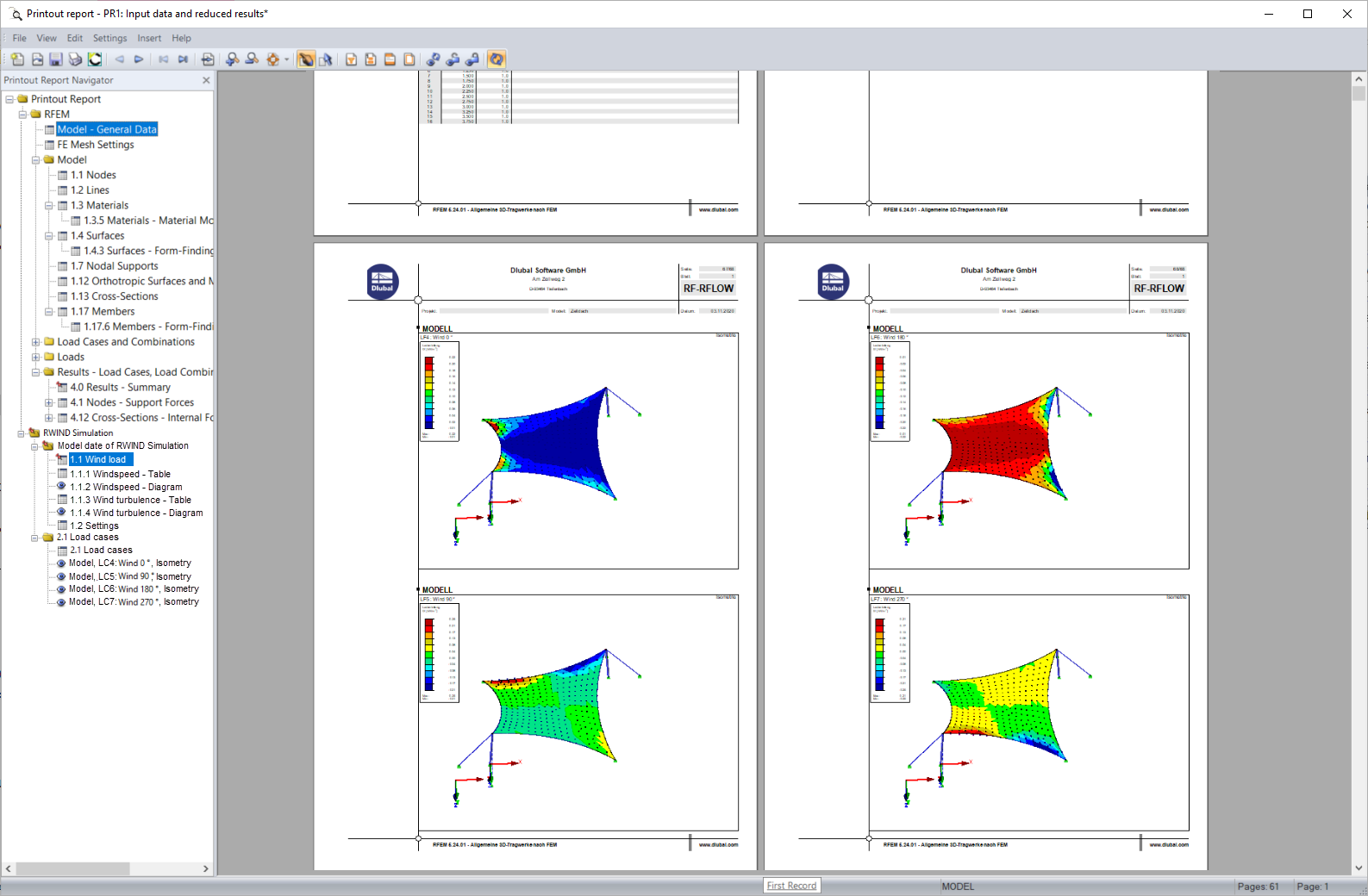Documentation of RWIND Simulation Data in Printout Report of RFEM and RSTAB