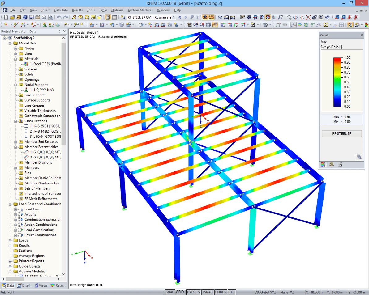 Design results of RF-STEEL SP displayed in 3D rendering in RFEM