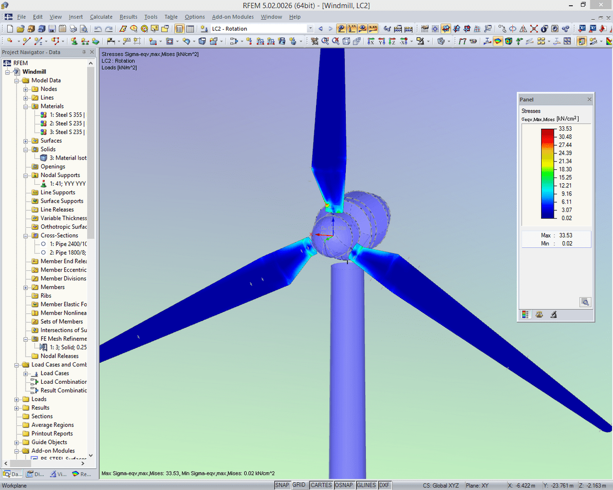 Stress analysis of a wind turbine in RFEM with automatically generated loading from rotation