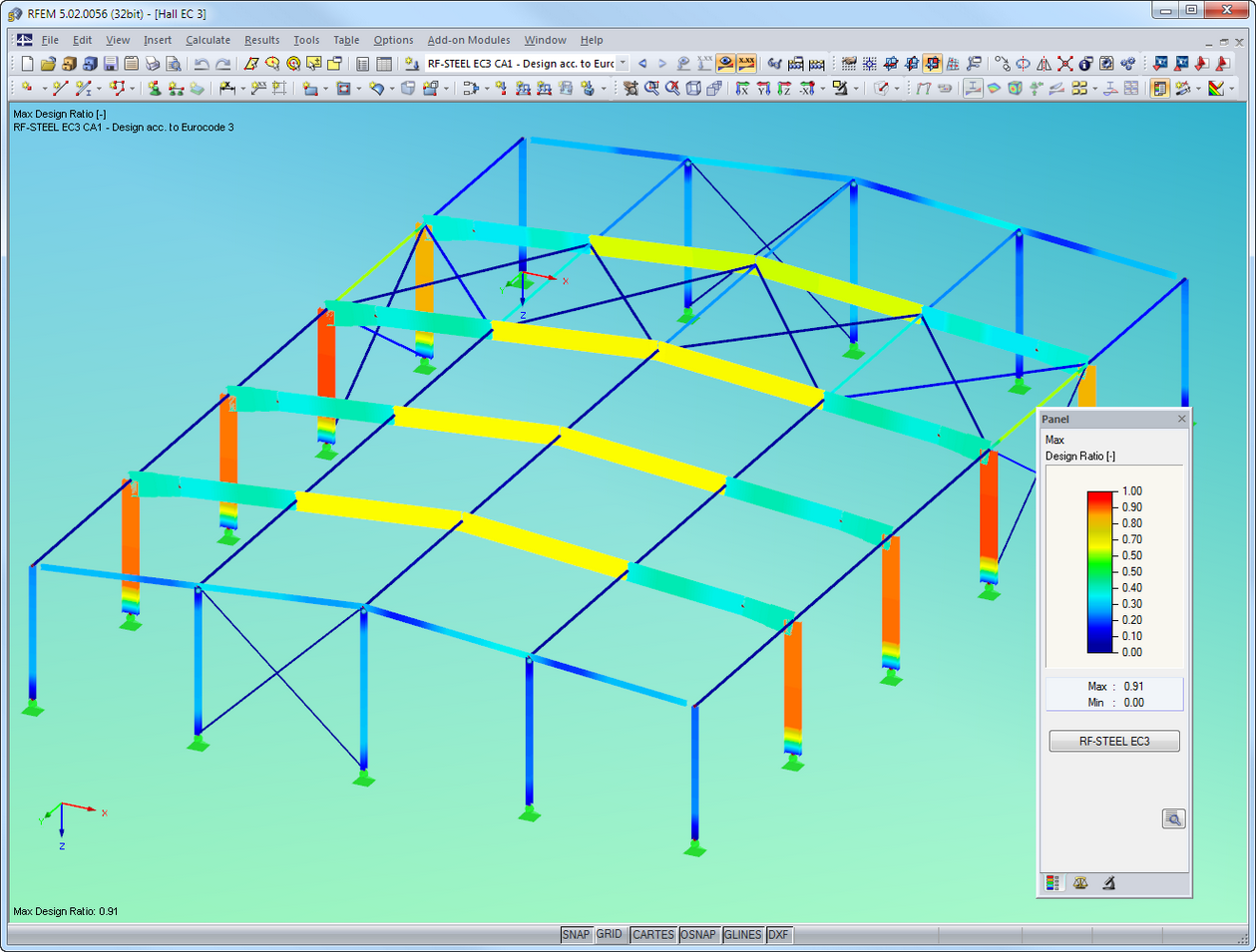 Design results of RF-STEEL EC3 visualized in RFEM