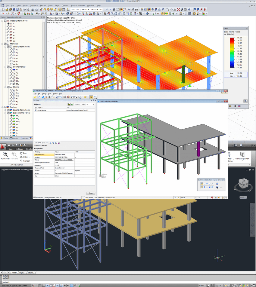 ISM interface with model in RFEM (above), ISM Viewer (middle) and ProStructure (below)