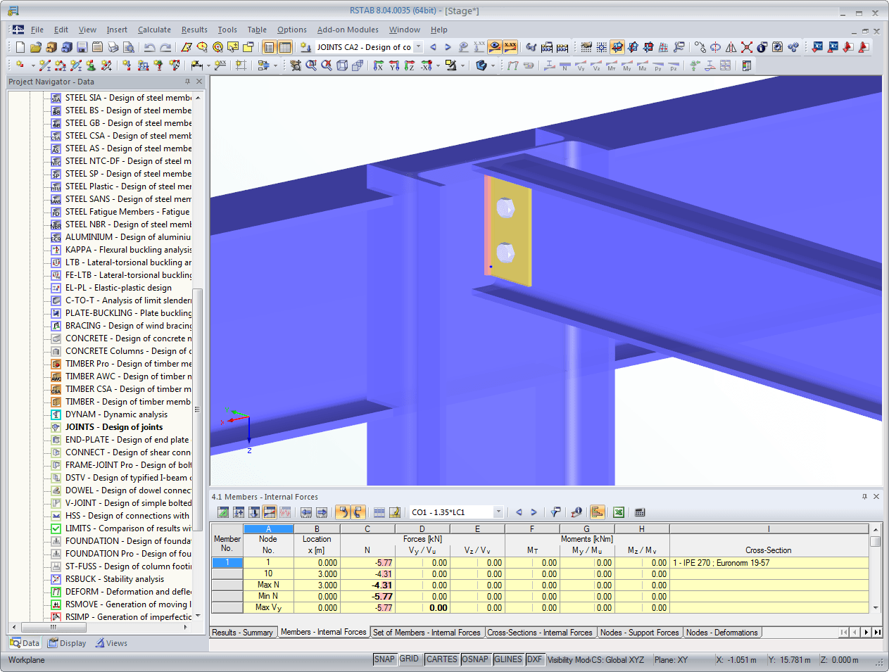 3D rendering of an angle connection in RSTAB designed in JOINTS Steel - Pinned