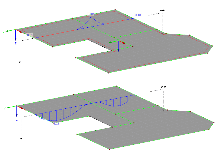 Displaying the reinforcement in the section (dependent on the surface side)