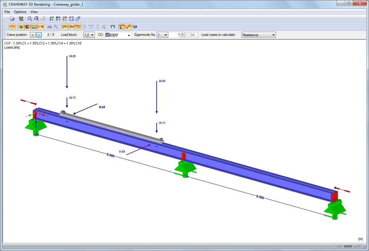Design Of Bridge And Suspension Cranes Acc To Ec 3 Dlubal Software Diagram All Cases There Is An Overhead Gantry Crane 3d Rendering A Girder With Loading