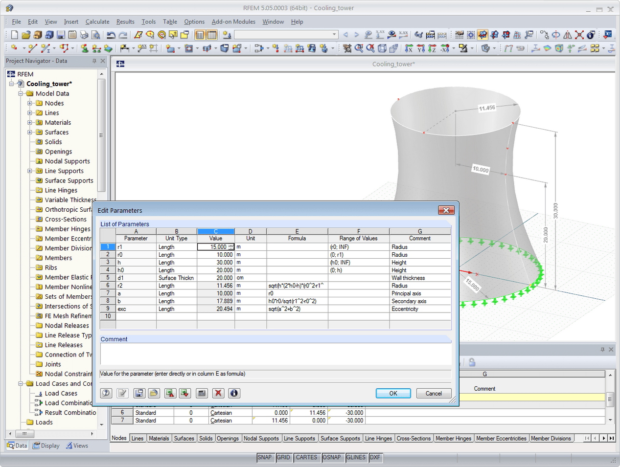 Adaptations of the parameters of a cooling tower in RFEM