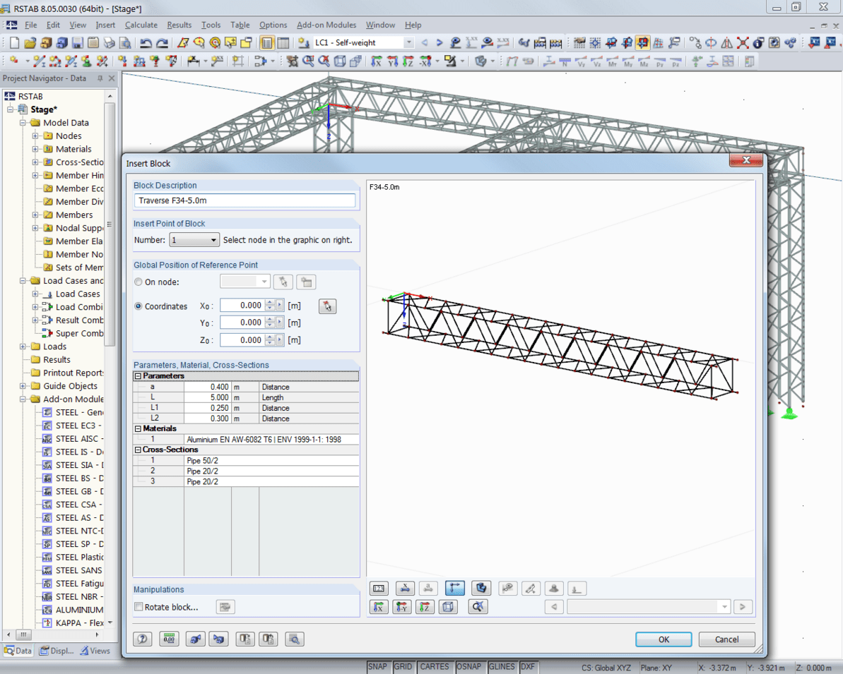 Inserting a block (global truss - traverse) in RSTAB