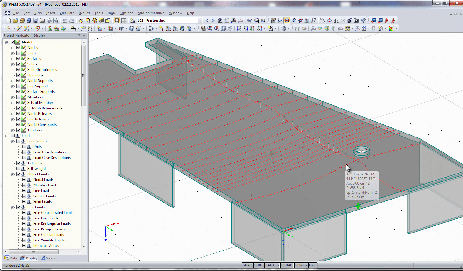 Prestressed building construction slab in RFEM - Display of tendons