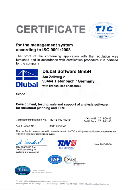Certification ISO 9001:2008 délivrée à Dlubal Software