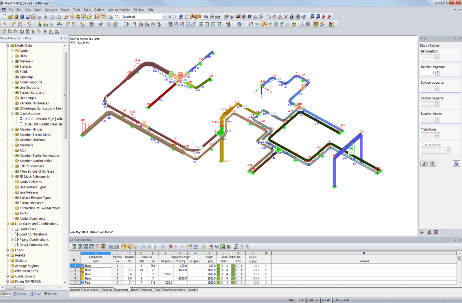 Model of a piping system with supporting construction in RFEM