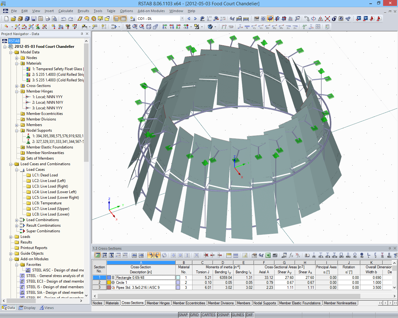 3D model of the supporting structure of the glass chandelier in RSTAB (© www.stutzkiengineering.com)