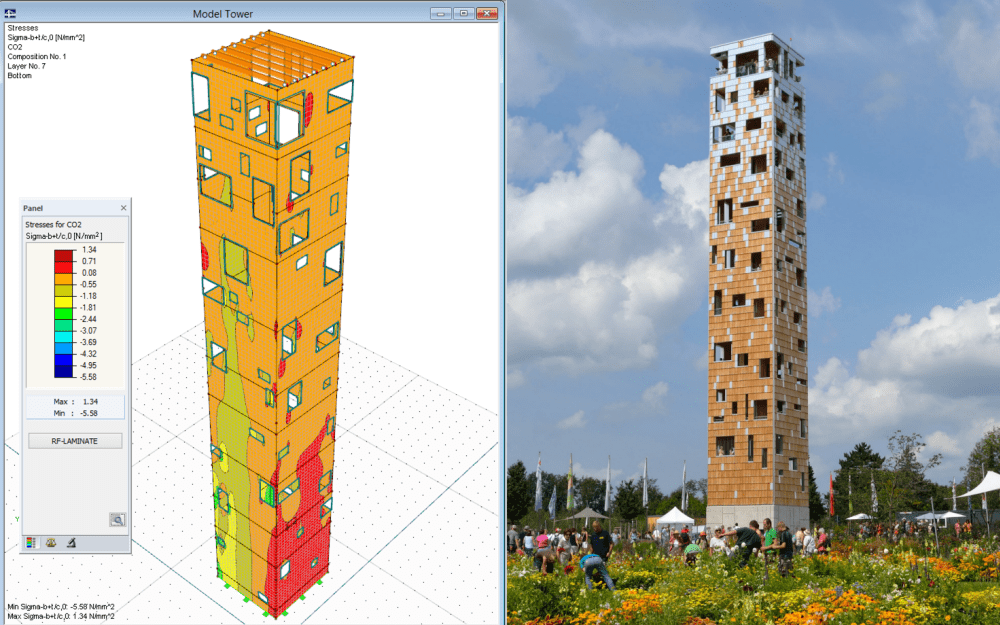 Look-out tower made of cross-laminated timberpanels designed in RFEM and RF-LAMINATE  (© www.wirth-baustatik.de)