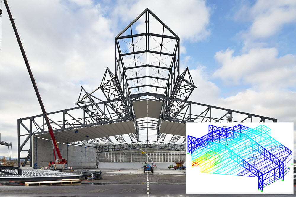 Noise protection hangar for airliners at the Zurich Airport calculated with RSTAB (© www.wtm-engineers.de)